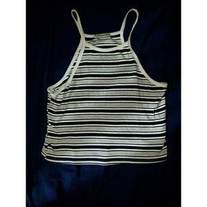 Black, White, & Gray Striped Razor Back Tank Top🖤